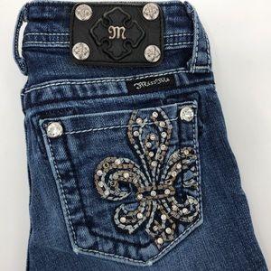 Girls Miss Me jeans with fleur de lis on pockets